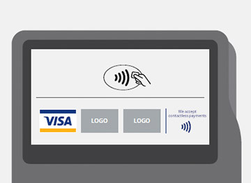 Contactless Symbol with network marks and  contactless acceptance messaging
