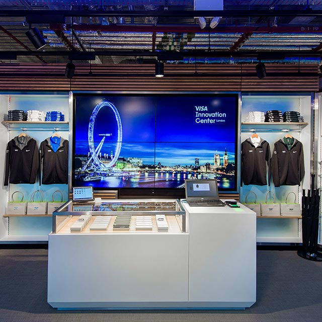Visa London Innovation Center retail space showcasing multiple solutions for the payment ecosystem.