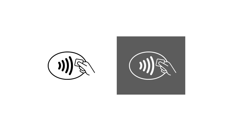 On left: Contactless symbol on white background. On right: Contactless symbol on dark grey background.