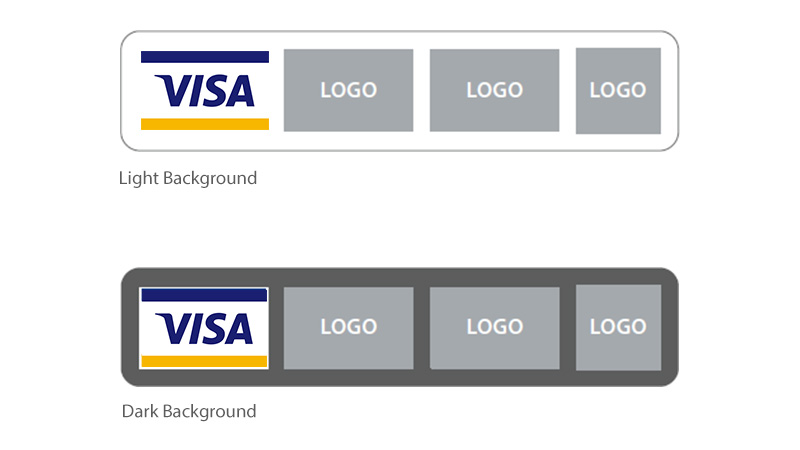 Both light and dark background. Left to right: Full-color POS Graphic followed by other network marks.