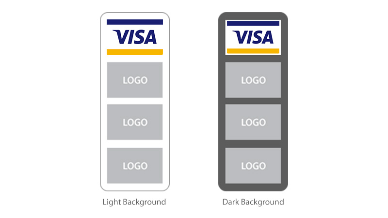 Both light and dark background. Top down: Full-color POS Graphic followed by other network marks.